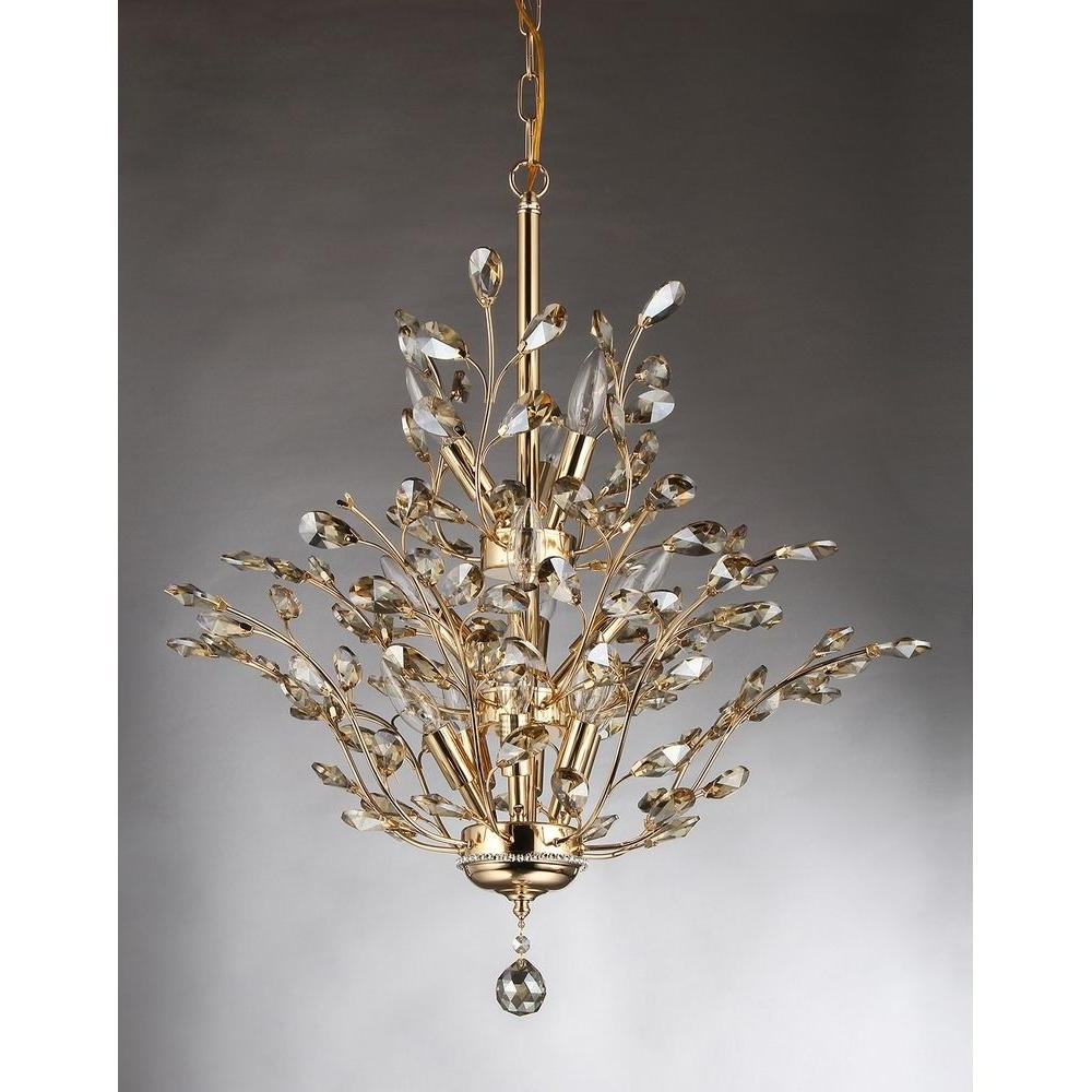 2018 Crystal Gold Chandeliers Pertaining To Gisell 13 Light Gold Indoor Leaf Like Crystal Chandelier With Shade (View 7 of 15)