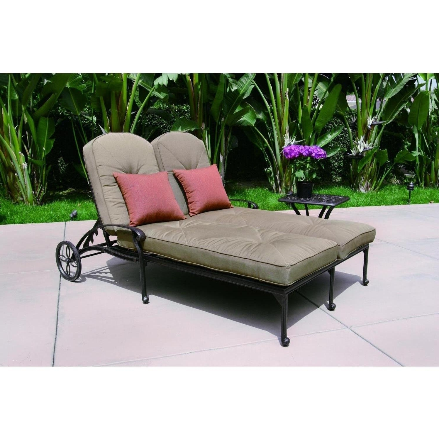 2018 Darlee Elisabeth 2 Piece Cast Aluminum Patio Double Chaise Lounge Within Patio Double Chaise Lounges (View 3 of 15)