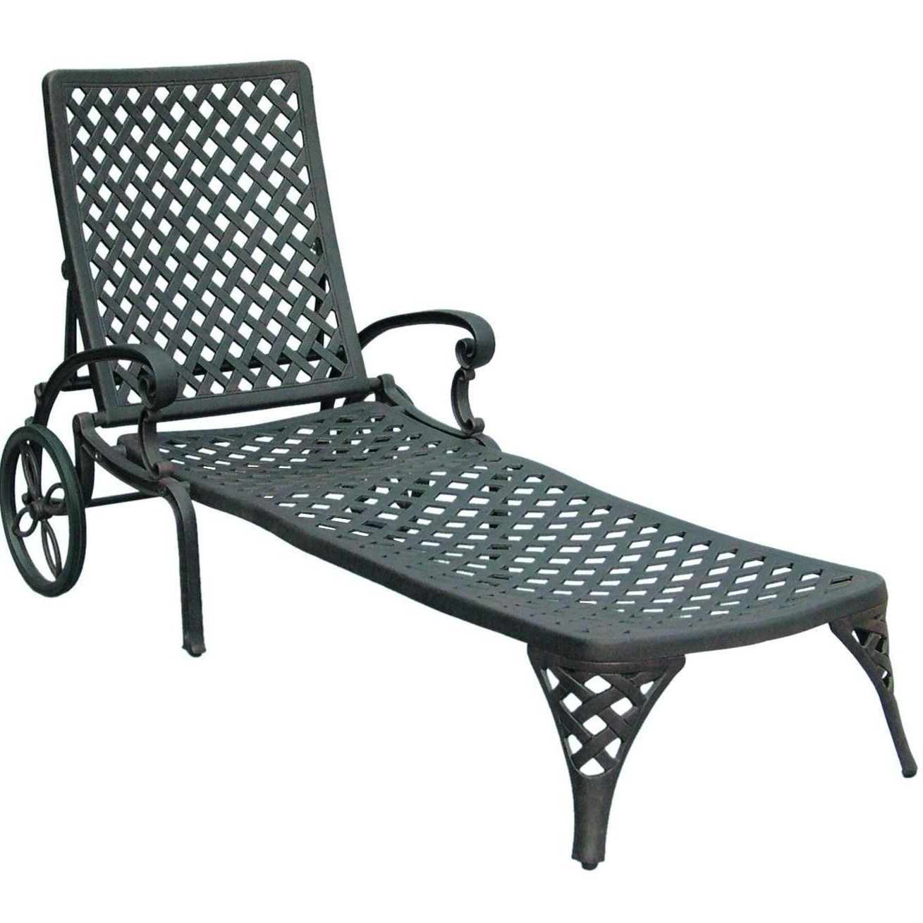 2018 Darlee Nassau Cast Aluminum Patio Chaise Lounge : Ultimate Patio Intended For Cast Aluminum Chaise Lounges With Wheels (View 1 of 15)