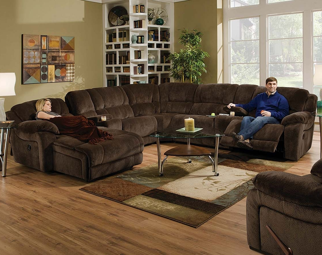 2018 Dual Reclining Sofa With Cup Holders Fabric Sectional Sofas With Inside Chocolate Brown Sectional Sofas (View 4 of 15)