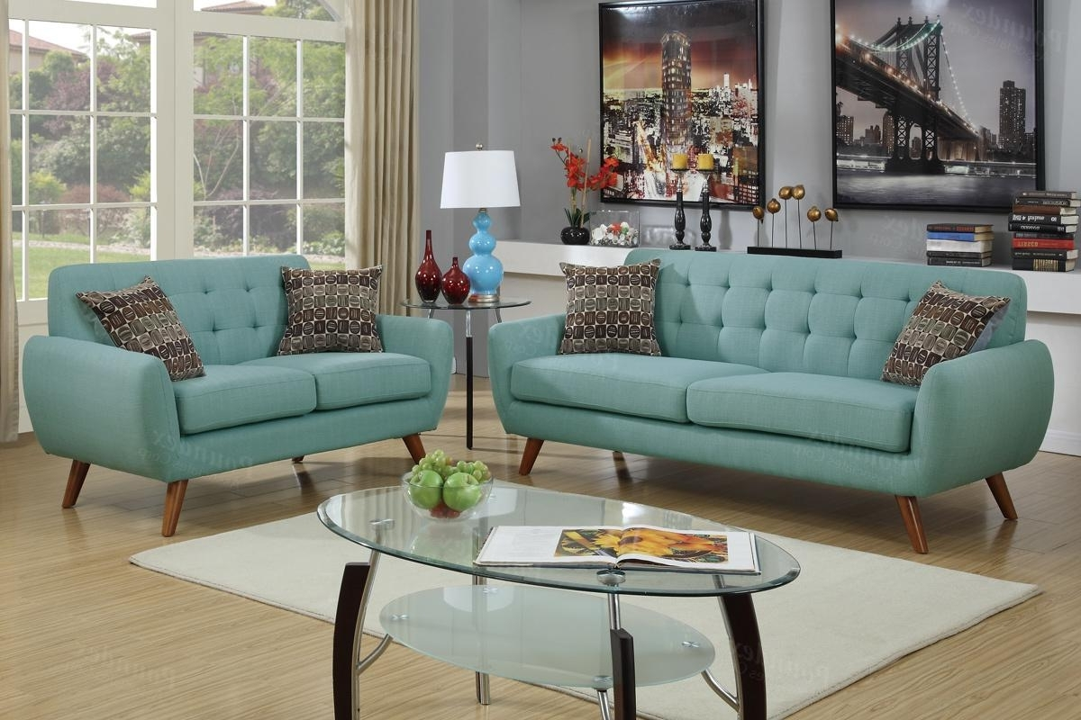 2018 Fabric Sofas Intended For Green Fabric Sofa And Loveseat Set – Steal A Sofa Furniture Outlet (View 12 of 15)