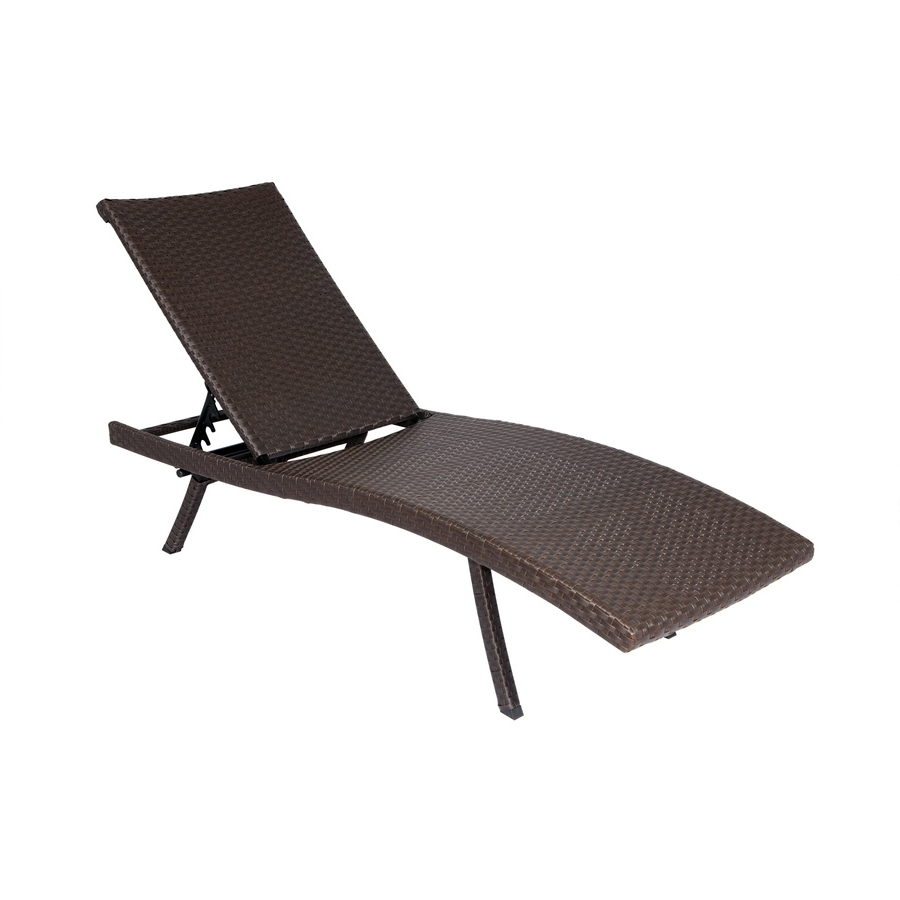 2018 Foldable Chaise Lounges Throughout Shop Allen + Roth Brown Wicker Folding Chaise Lounge Chair At (View 3 of 15)