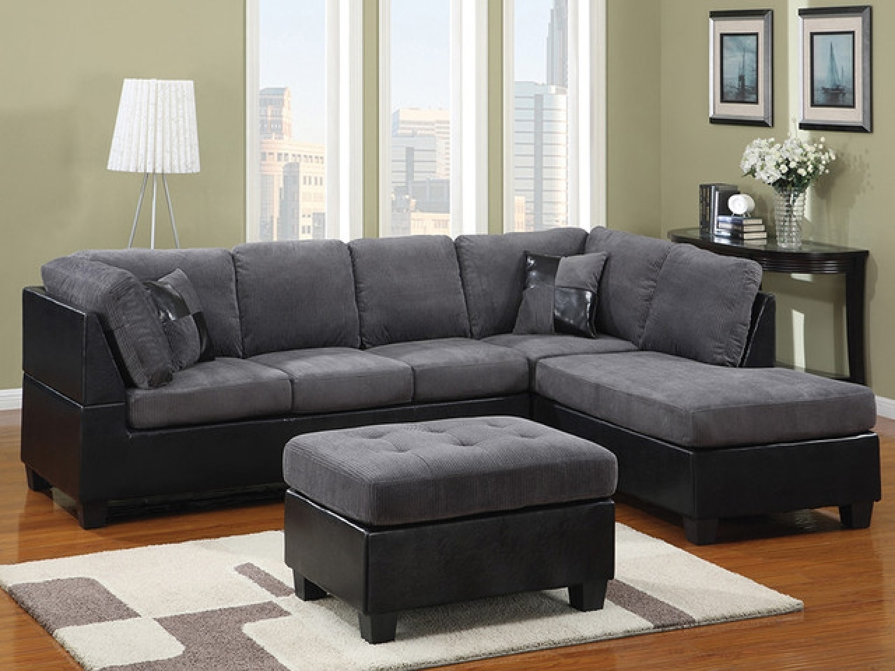 2018 Furniture: Pretty Collection Of Microfiber Sectional Sofa Regarding Grey Sectional Sofas With Chaise (View 3 of 15)