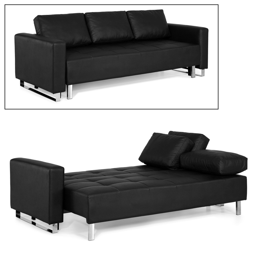 2018 Futons With Chaise Lounge Regarding Furniture: Fabulous Faux Leather Futon For Living Room Decor (View 1 of 15)