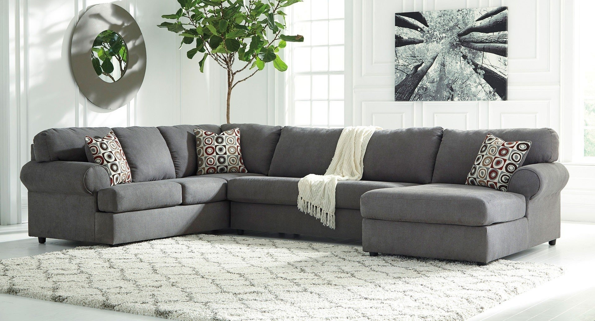 2018 Jayceon Steel Left Chaise Sectional Signature Designashley Inside Ashley Chaises (View 11 of 15)