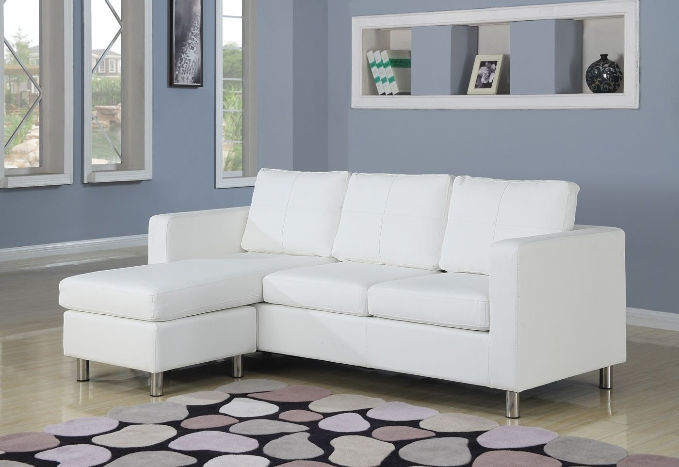 2018 L White Leather Sectional Sofa With Chaise And Back Also Arms On Pertaining To White Leather Sectionals With Chaise (View 2 of 15)