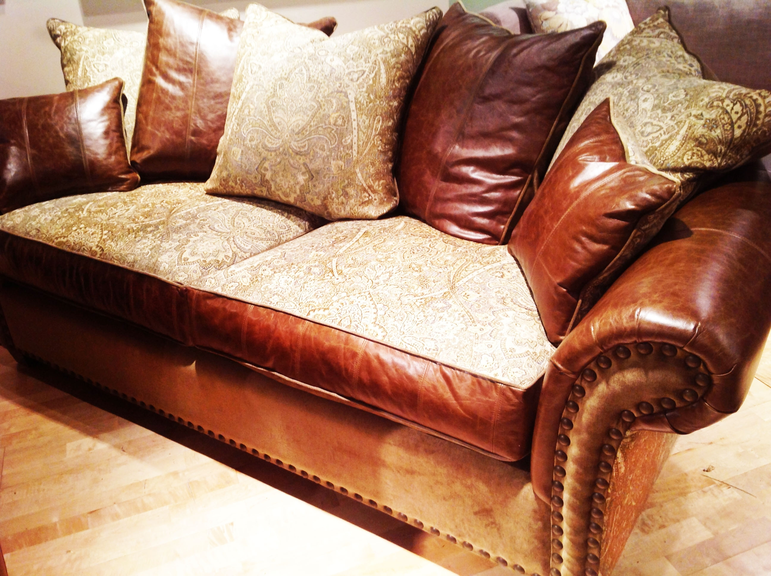 2018 Leather And Cloth Sofas With Sofa Harvest: Leather, Fabric, Studs, And Goose Fillthe Rustic (View 1 of 15)