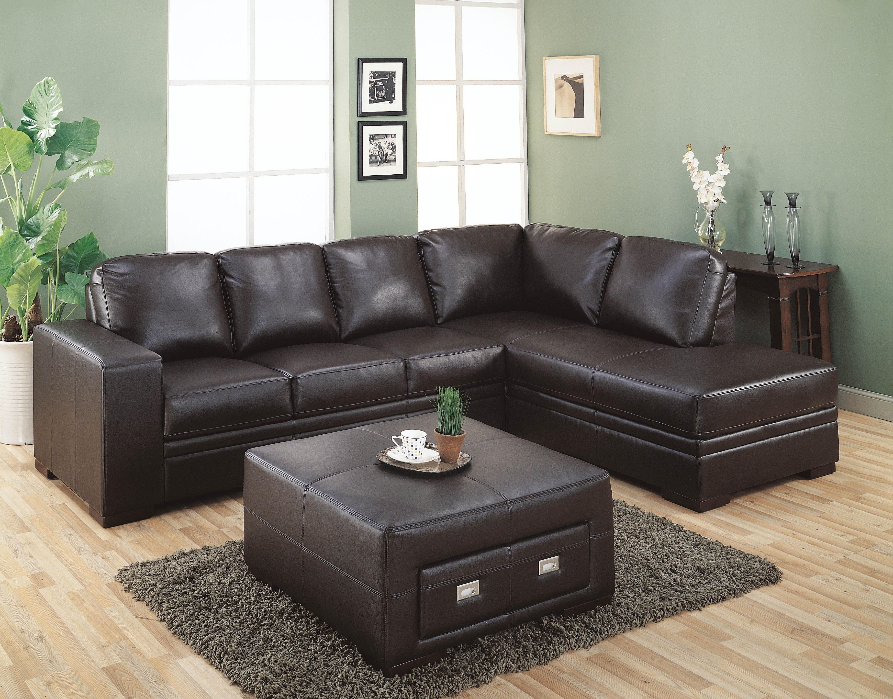 2018 Leather Sofas With Storage Intended For Very Popular Sectional Dark Brown Leather Couch With Square (View 2 of 15)