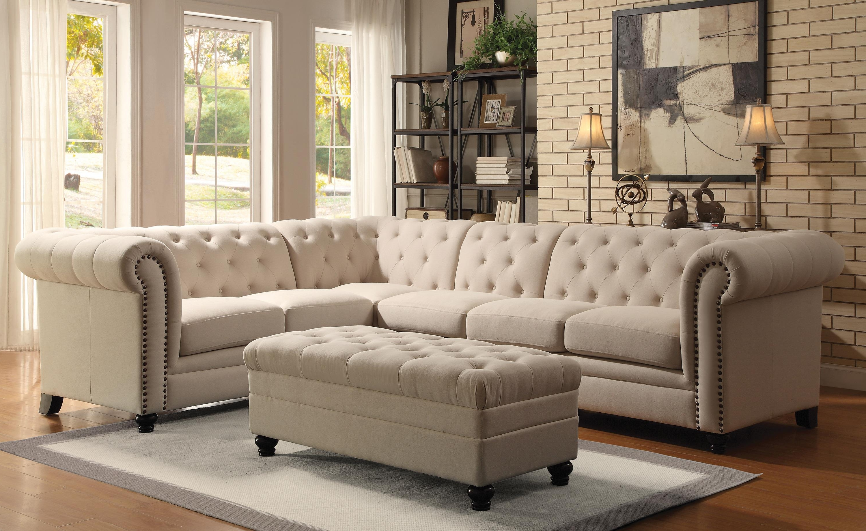 2018 Light Brown Fabric Ashley Furniture Sectional L Sofa Sleeper With Regarding Ashley Tufted Sofas (View 3 of 15)