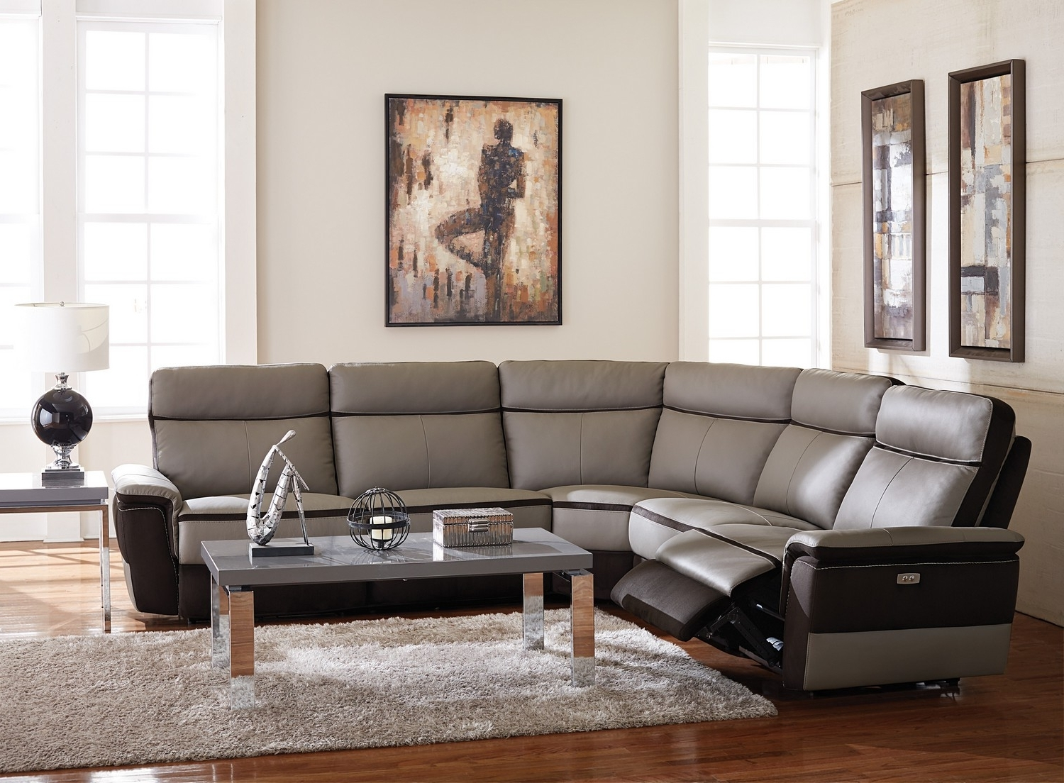 2018 Modern Reclining Sectional Oversized Sectionals With Chaise Blue Pertaining To Reclining Sectionals With Chaise (View 1 of 15)