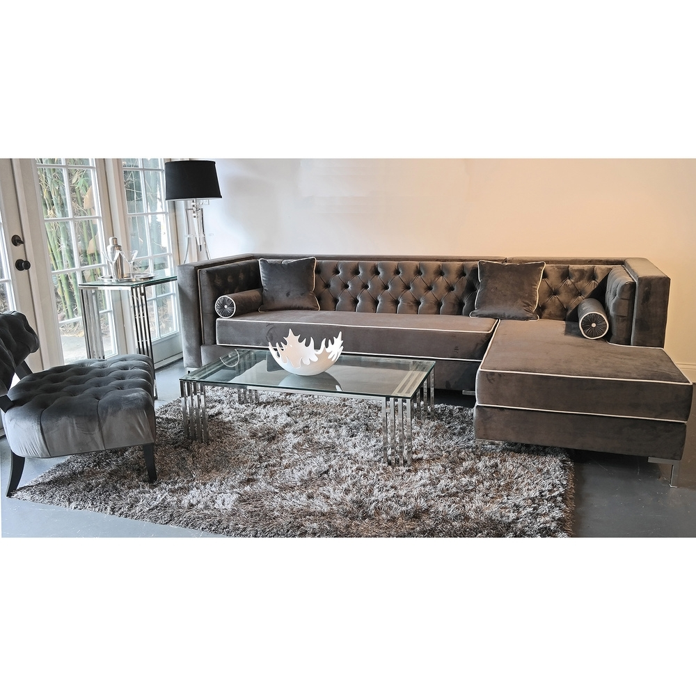 2018 Oakville Sectional Sofas Pertaining To Decenni Custom Furniture 'tobias' Grey Velvet Tufted (View 15 of 15)