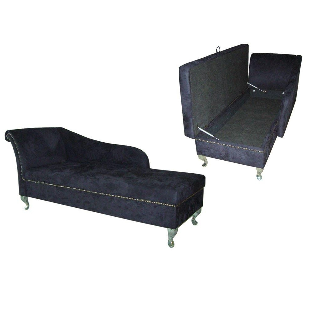 2018 Ore International Navy Blue Microfiber Storage Chaise Lounge Pertaining To Storage Chaise Lounges (View 1 of 15)