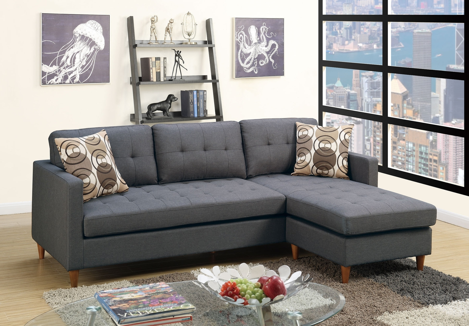 2018 P7094 Sectional Sofa 7094 Poundex Sectional Sofas At Comfyco In Gray Sectionals With Chaise (View 14 of 15)