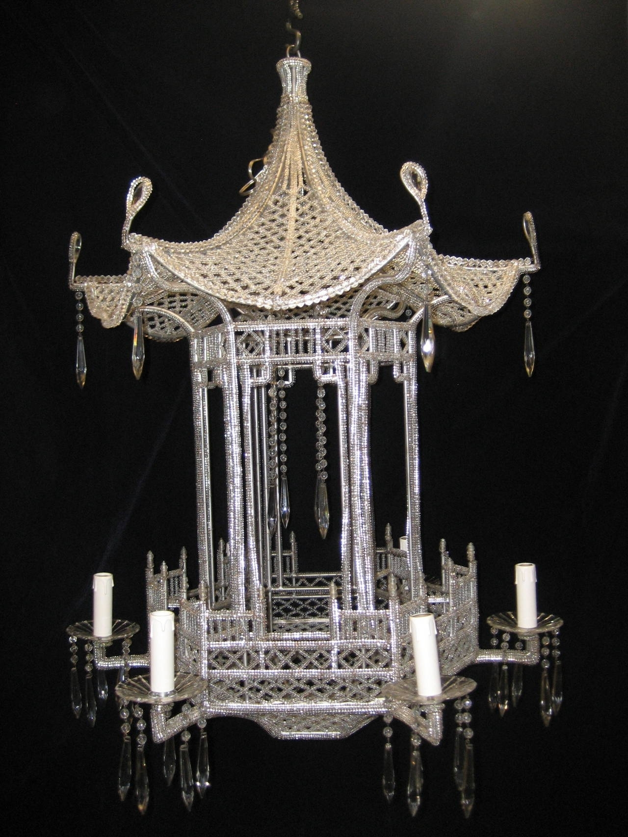 2018 Pair Of Italian Chinoiserie Pagoda Form Beaded Glass And Crystal Within Chinoiserie Chandeliers (View 1 of 15)