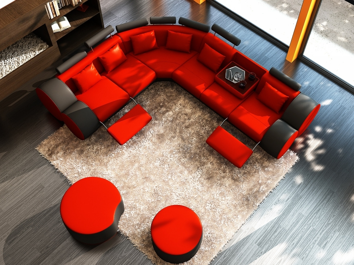 2018 Red Black Sectional Sofas Throughout 3087 Modern Black And Red Leather Sectional Sofa And Coffee Table (View 2 of 15)