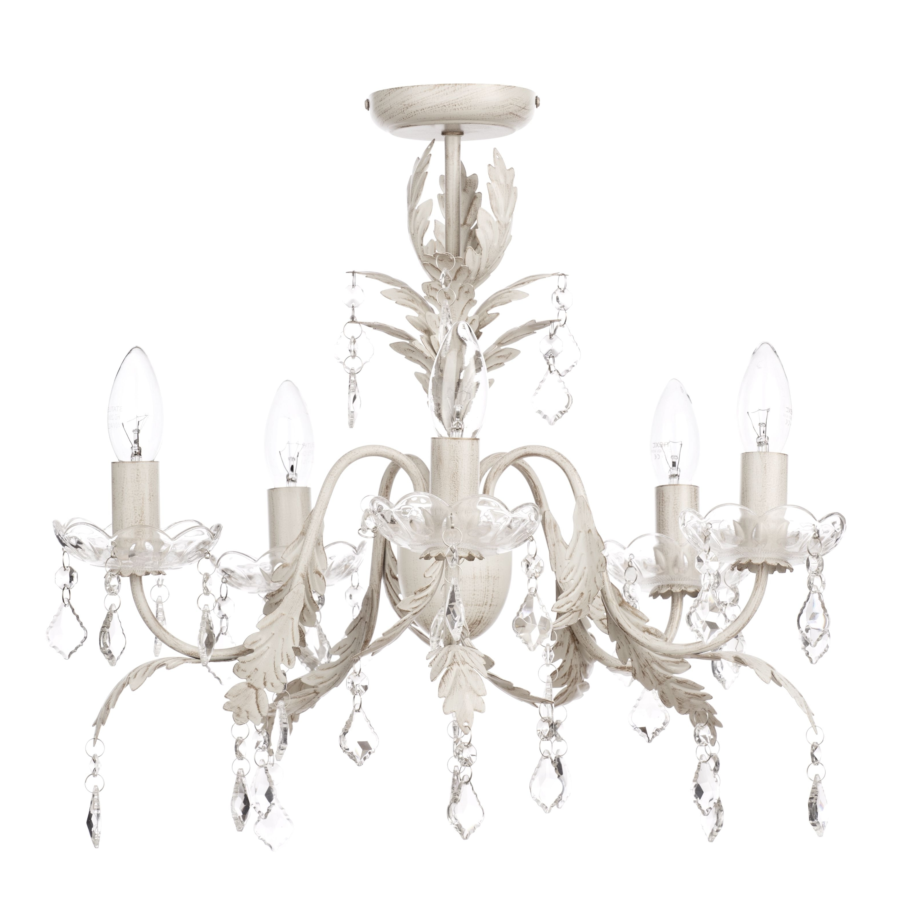 2018 Romeo 5 Light Chandelier – Cream & Gold From Litecraft Intended For Cream Chandelier (View 1 of 15)