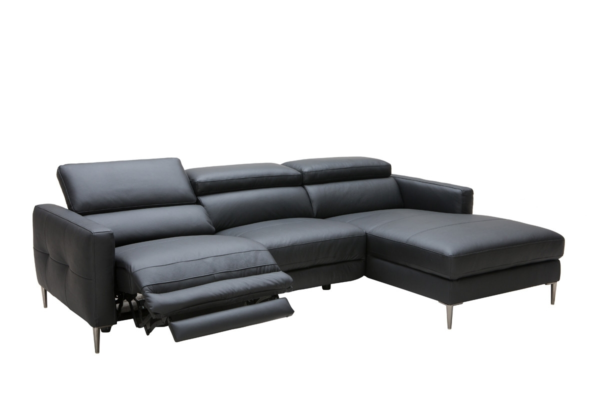 2018 Sectional Sofas With Electric Recliners With Casa Booth Modern Black Leather Sectional W/ Electric Recliner (View 1 of 15)