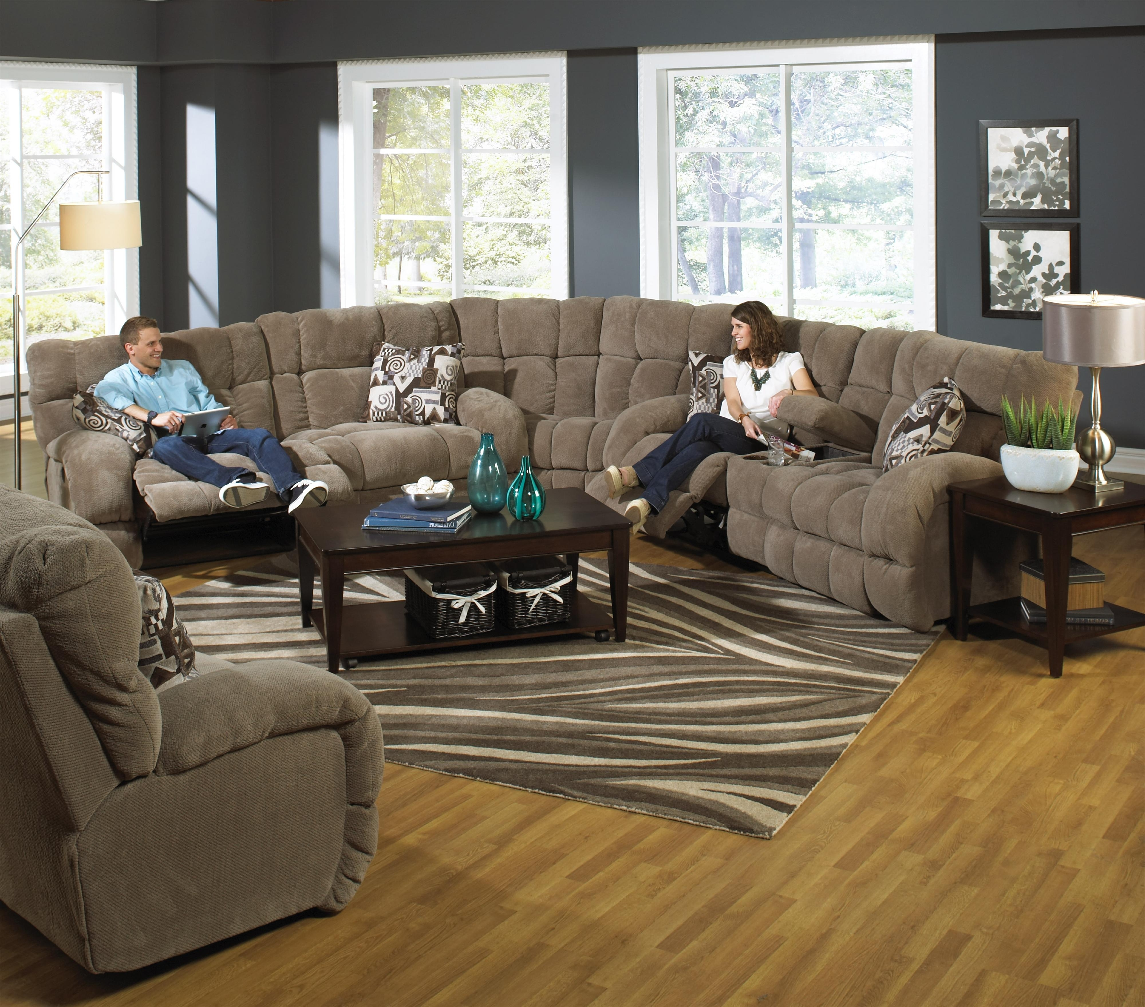 2018 Sectional Sofas With Power Recliners With Regard To Catnapper Siesta Power Reclining Sectional Sofa With Cup Holders (View 2 of 15)