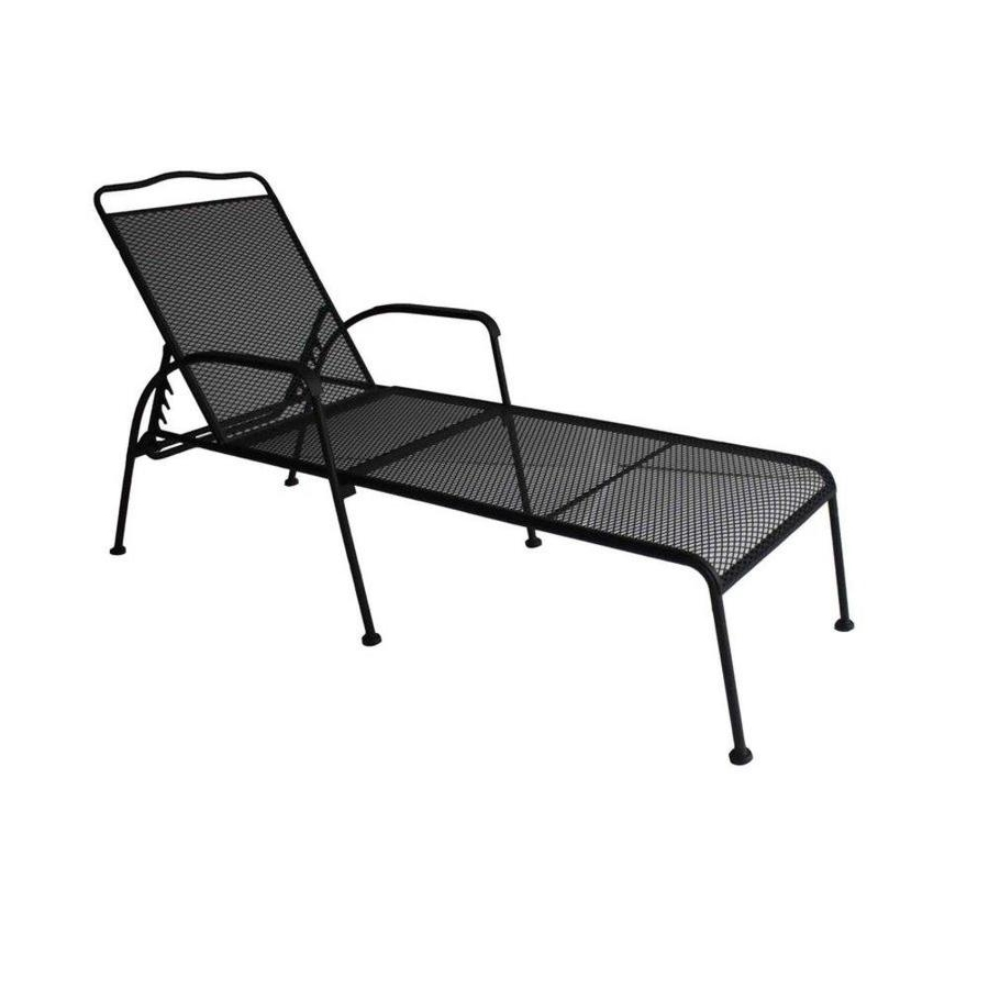 2018 Shop Garden Treasures Davenport Black Steel Patio Chaise Lounge Throughout Iron Chaise Lounges (View 1 of 15)