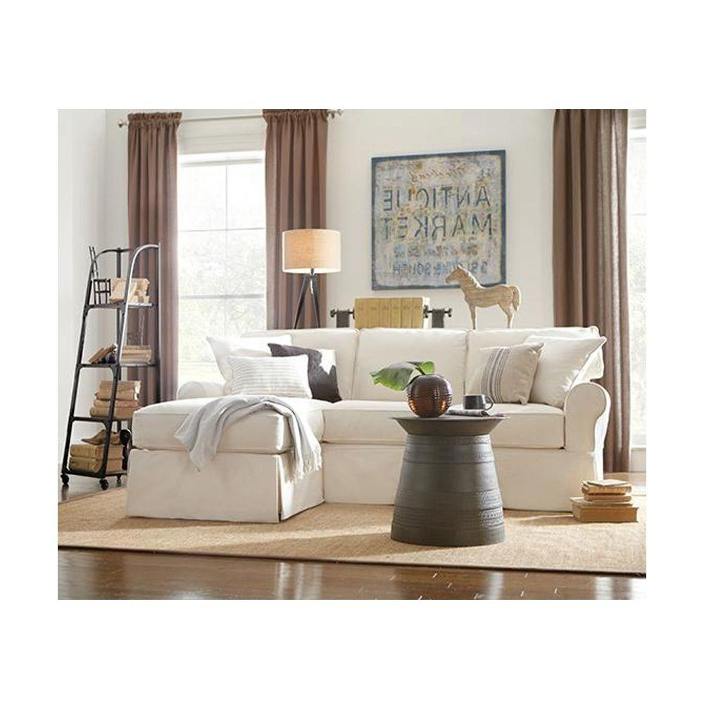 2018 Slipcovered Sofas With Chaise With Home Decorators Collection Mayfair 2 Piece Linen Pearl Sectional (View 2 of 15)