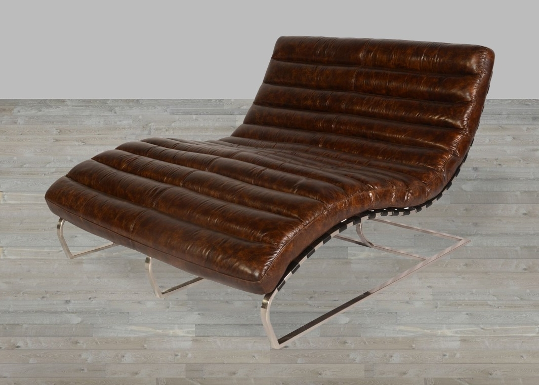 2018 Snap Leather Vintage Double Chaise Regarding Double Chaises (View 1 of 15)