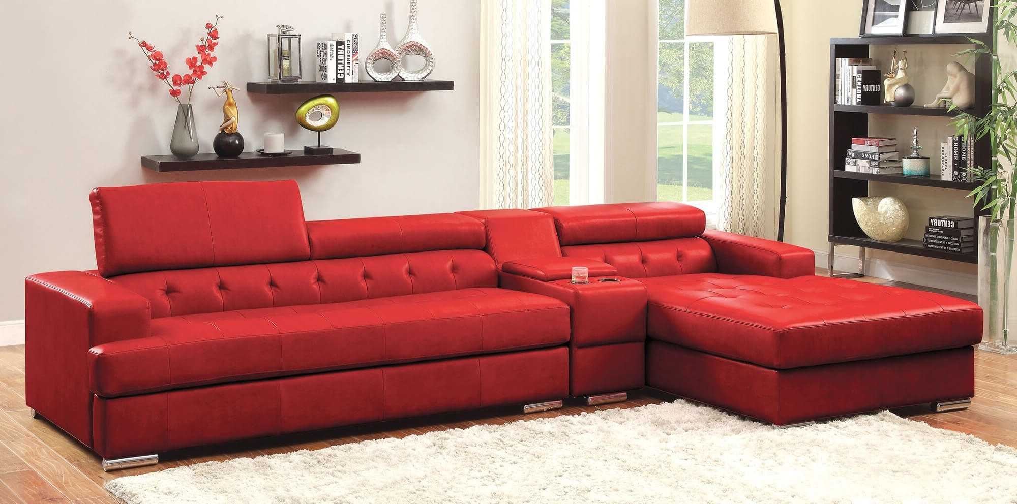 2018 Stylish Modern Red Sectional Sofas For Red Leather Sectionals With Chaise (View 1 of 15)