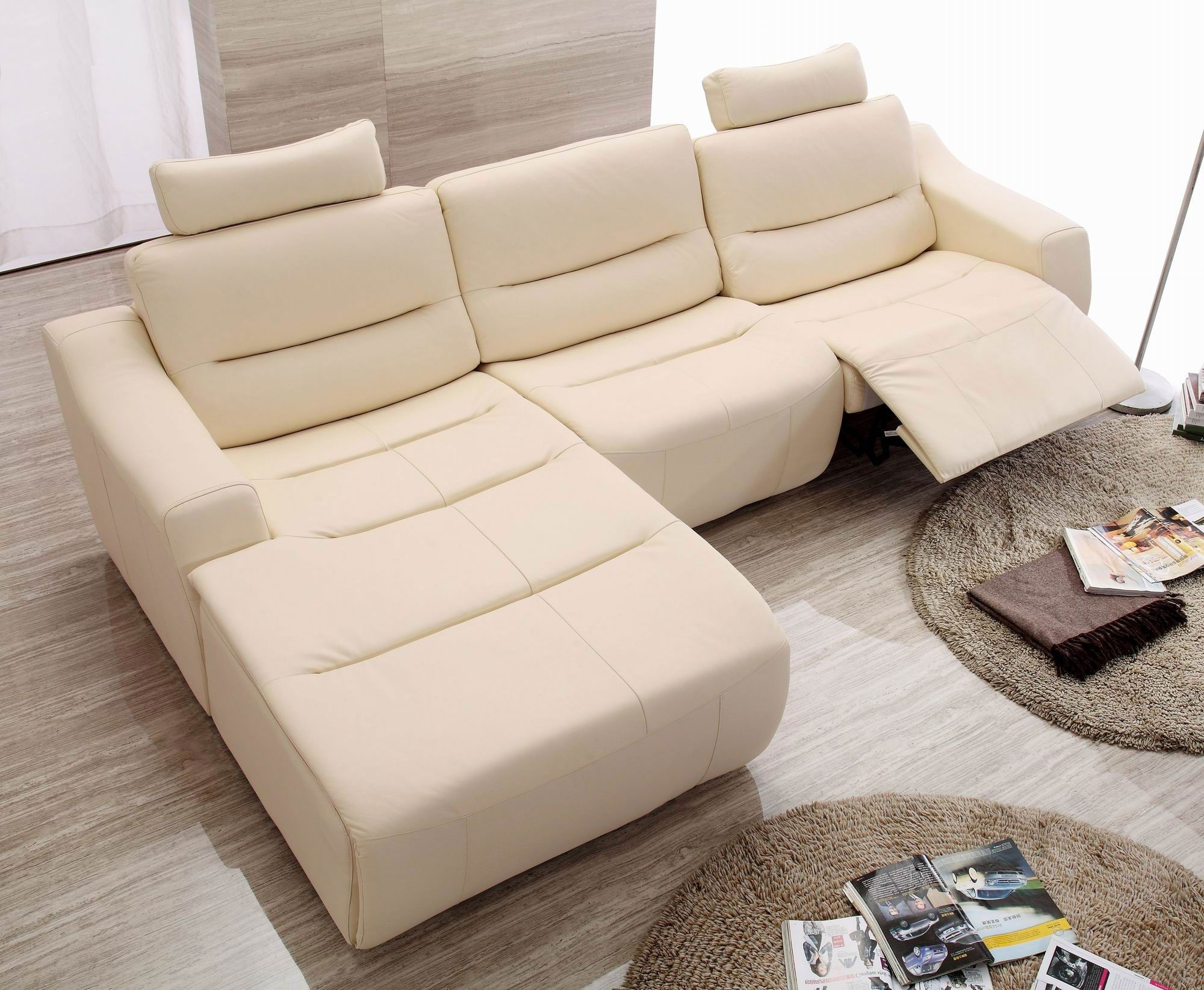 2018 White Or Beige Modern Contemporary Sofa With Chaise – Google In Sectional Sofas For Small Spaces With Recliners (View 3 of 15)