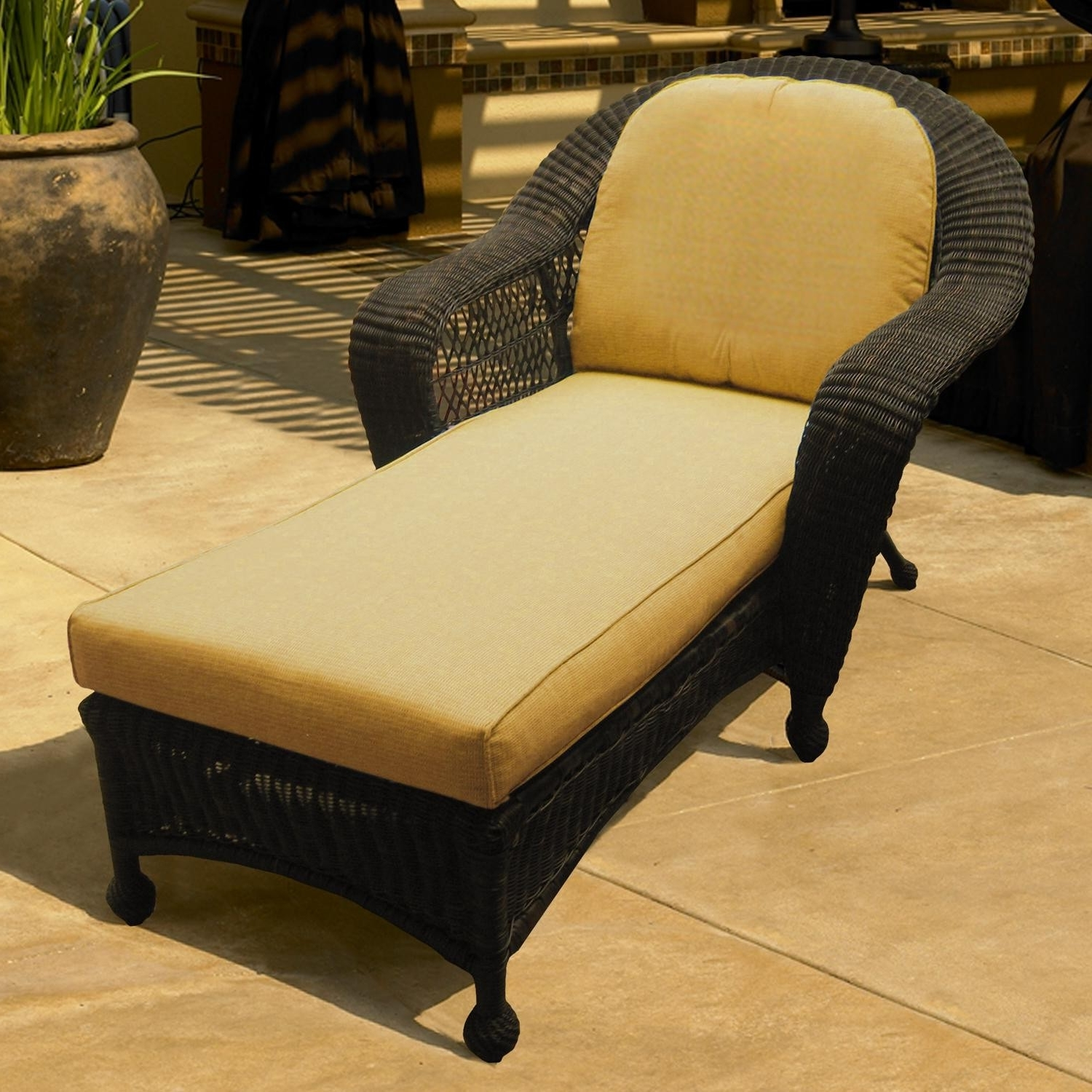 2018 Wicker Chaise Lounge Chairs For Outdoor Intended For Charleston Wicker Chaise Lounge (View 10 of 15)