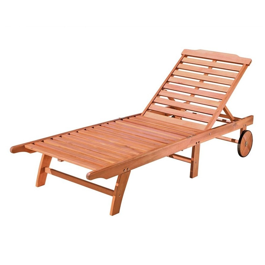 2018 Wooden Chaise Lounges Throughout Shop Vifah Eucalyptus Patio Chaise Lounge At Lowes (View 13 of 15)