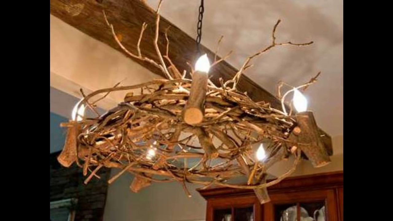 22 Diy Ideas For Rustic Tree Branch Chandeliers – Youtube Inside Well Liked Branch Chandeliers (View 4 of 15)
