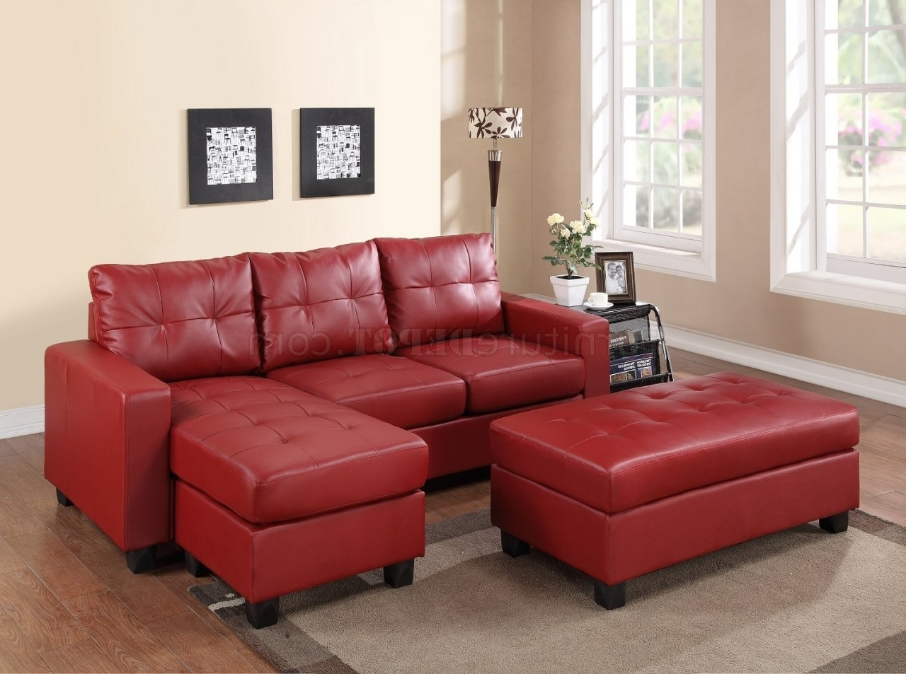 2511 Sectional Sofa Set In Red Bonded Leather Match Pu Inside Most Recently Released Red Sectional Sofas With Ottoman (View 4 of 15)