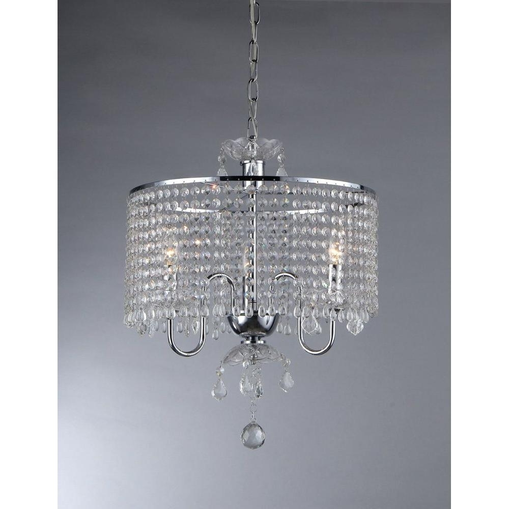 3 Light Crystal Chandeliers With Regard To Well Known Warehouse Of Tiffany Elija 3 Light Chrome Crystal Chandelier With (View 4 of 15)