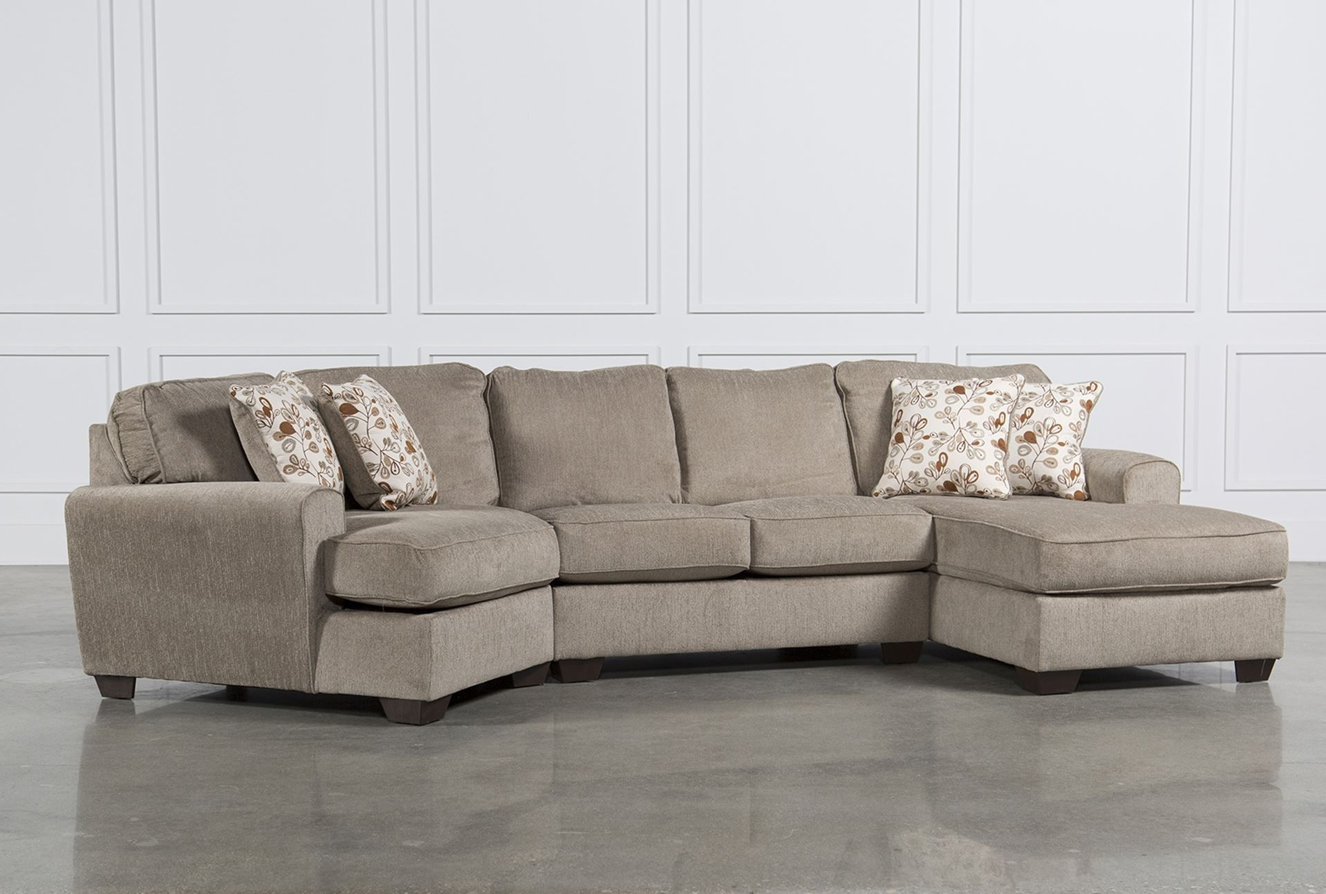 3 Piece Sectional Sofas With Chaise With Most Popular Patola Park 4 Piece Sectional W Raf Cuddler Living Spaces In Sofa (View 10 of 15)