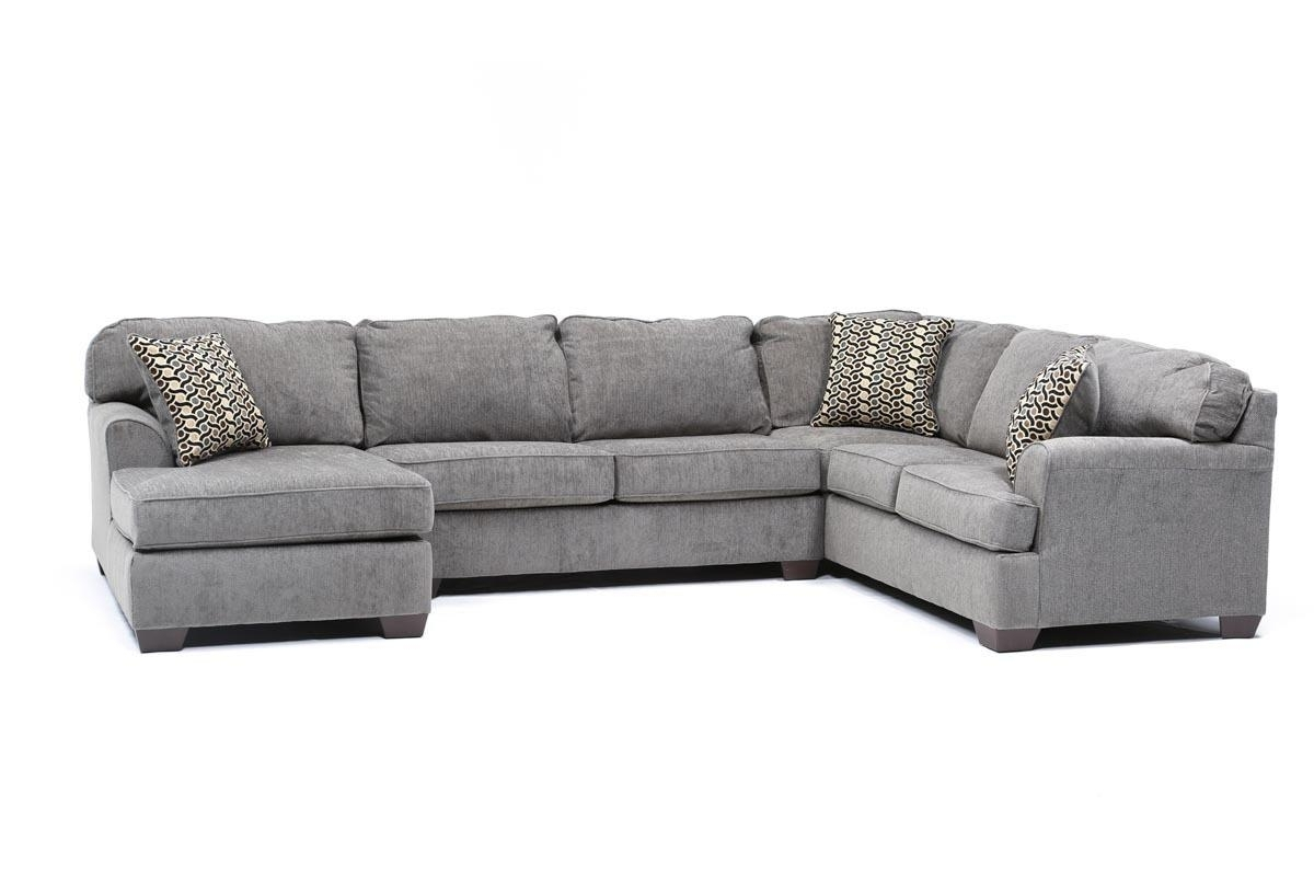 3 Piece Sectionals With Chaise Inside Popular Loric Smoke 3 Piece Sectional W/raf Chaise (View 1 of 15)