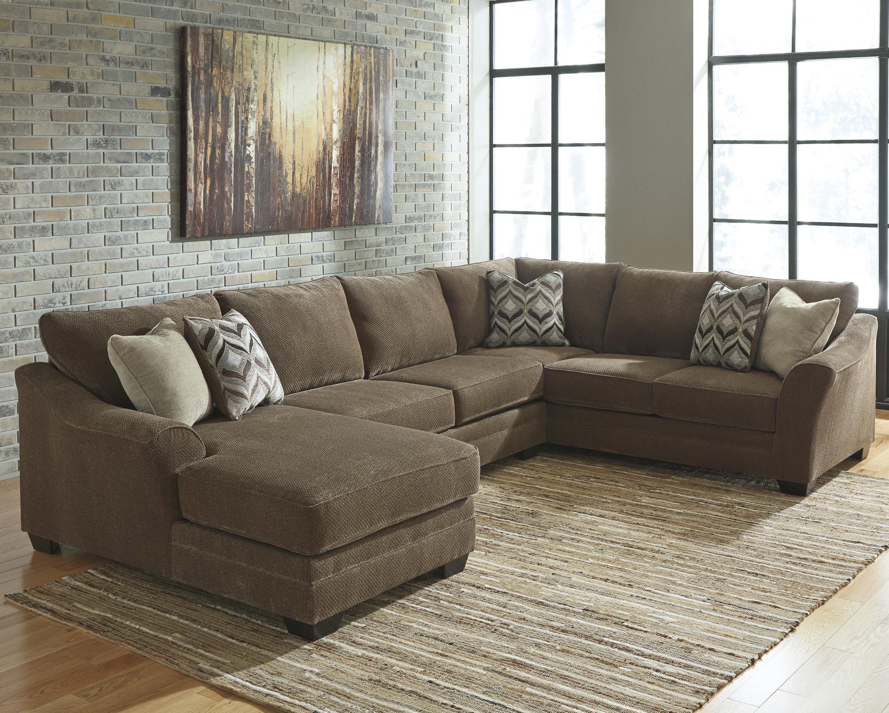 3 Piece Sectionals With Chaise Pertaining To Most Popular Benchcraft Justyna Contemporary 3 Piece Sectional With Right (View 2 of 15)