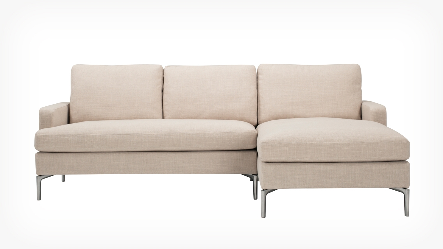3 Pieces Small Sectional Beige Sofa With Chaise And Skinny Chrome Within Preferred Small Sofa Chaises (View 1 of 15)