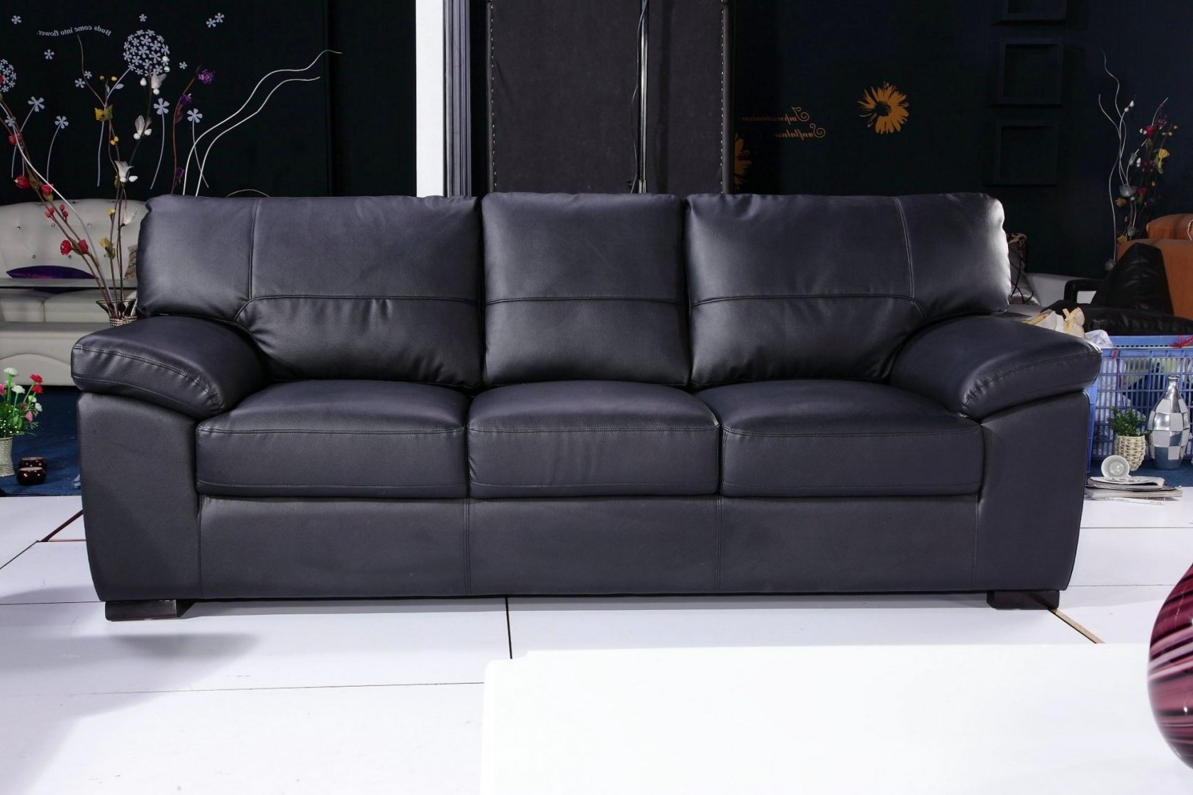 3 Seater Leather Sofas throughout Current 3 Seater Black Leather Sofa