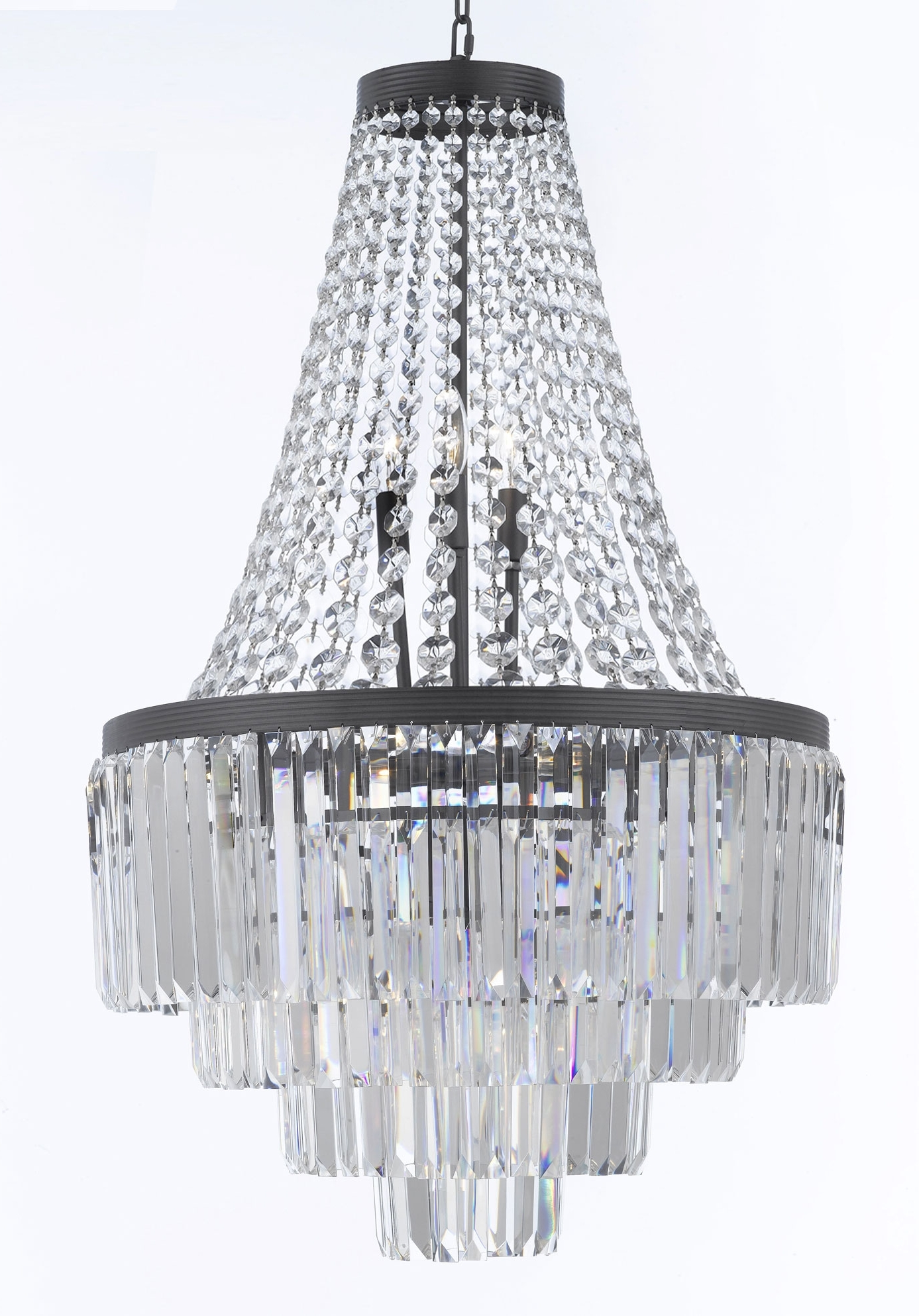 3 Tier Crystal Chandelier in Current G7-1100/9 Gallery Chandeliers Retro Odeon Crystal Glass Fringe 3