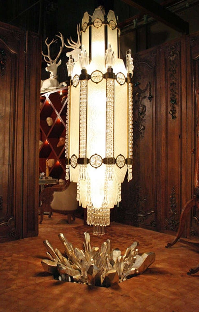 4 Important French Art Deco Glass And Bronze Ballroom Chandeliers pertaining to Well-known Ballroom Chandeliers
