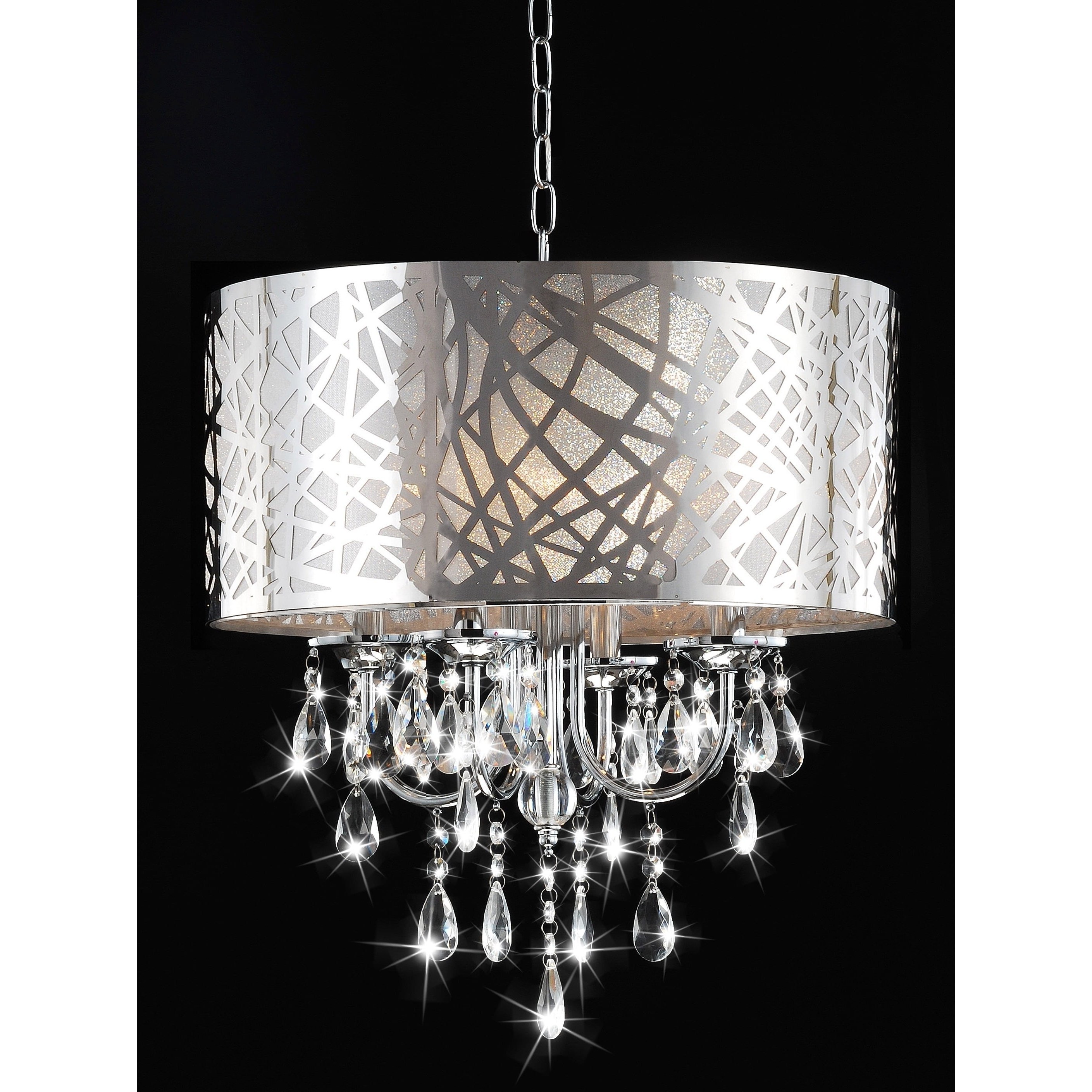 4-Light Chrome Crystal Chandelier - Free Shipping Today - Overstock inside Most Up-to-Date 4-Light Chrome Crystal Chandeliers