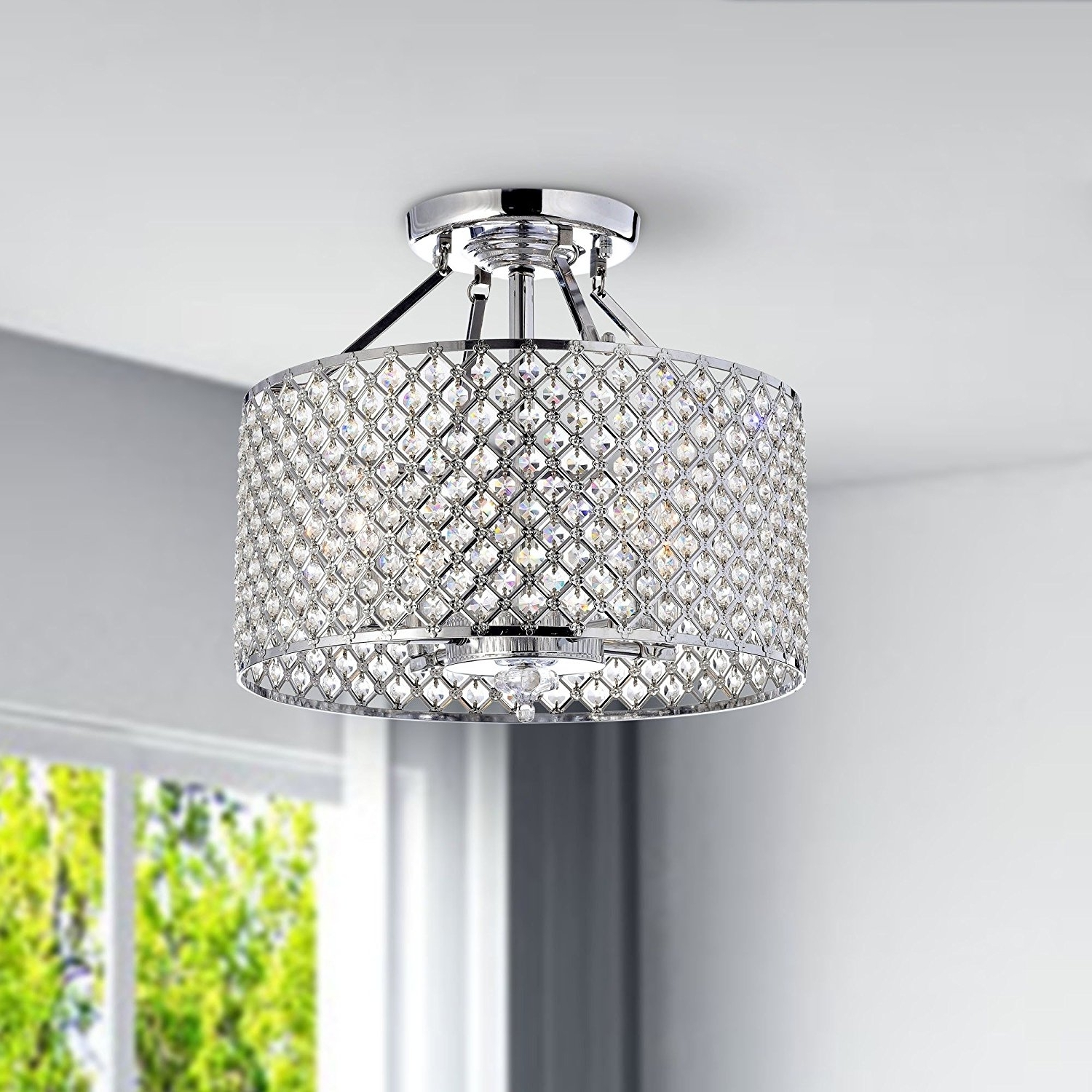 4 Light Chrome Crystal Chandeliers Inside Well Known Chrome / Crystal 4 Light Round Ceiling Chandelier – – Amazon (View 2 of 15)