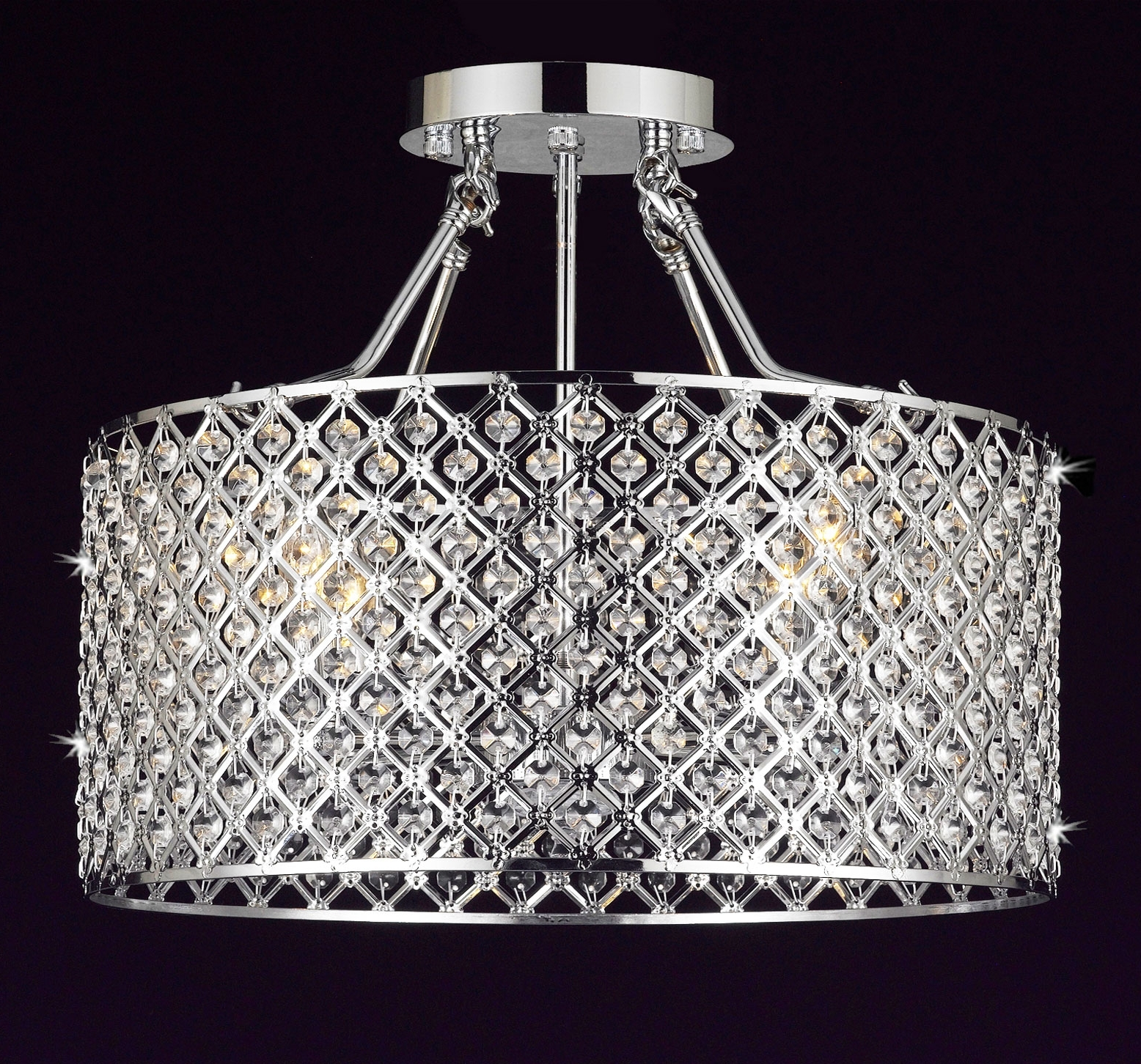 4 Light Chrome Crystal Chandeliers Throughout Most Recently Released G7 B12/white/2130/4 Gallery Chandeliers Flushmount 4 Light Chrome (Gallery 14 of 15)