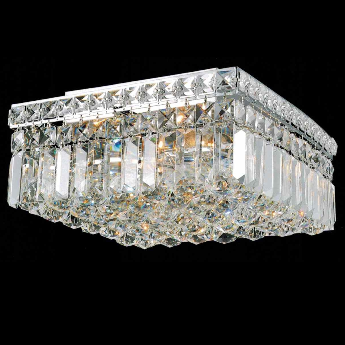 """4 Light Chrome Crystal Chandeliers With Latest Brizzo Lighting Stores. 12"""" Bossolo Transitional Crystal Square (Gallery 12 of 15)"""