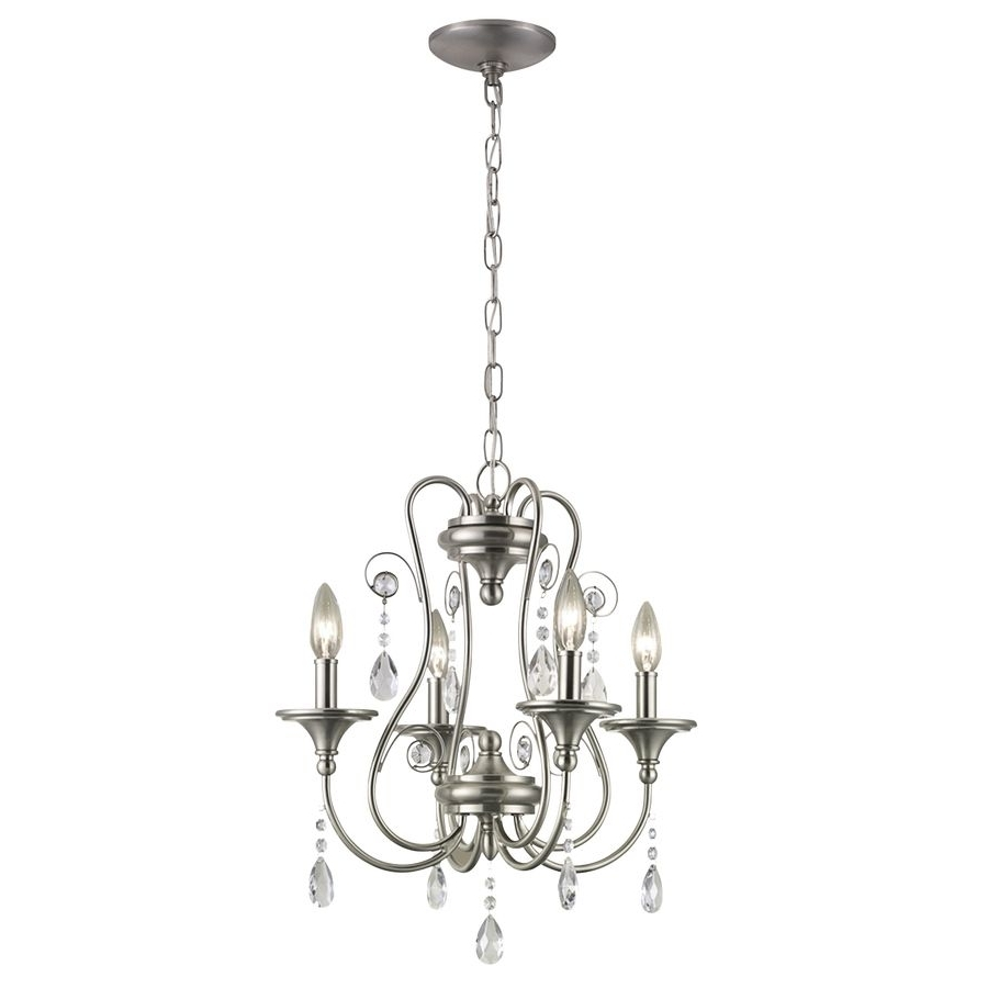 4 Light Chrome Crystal Chandeliers within 2017 Portfolio Opula 17-In 4-Light Brushed Nickel Crystal Crystal Candle