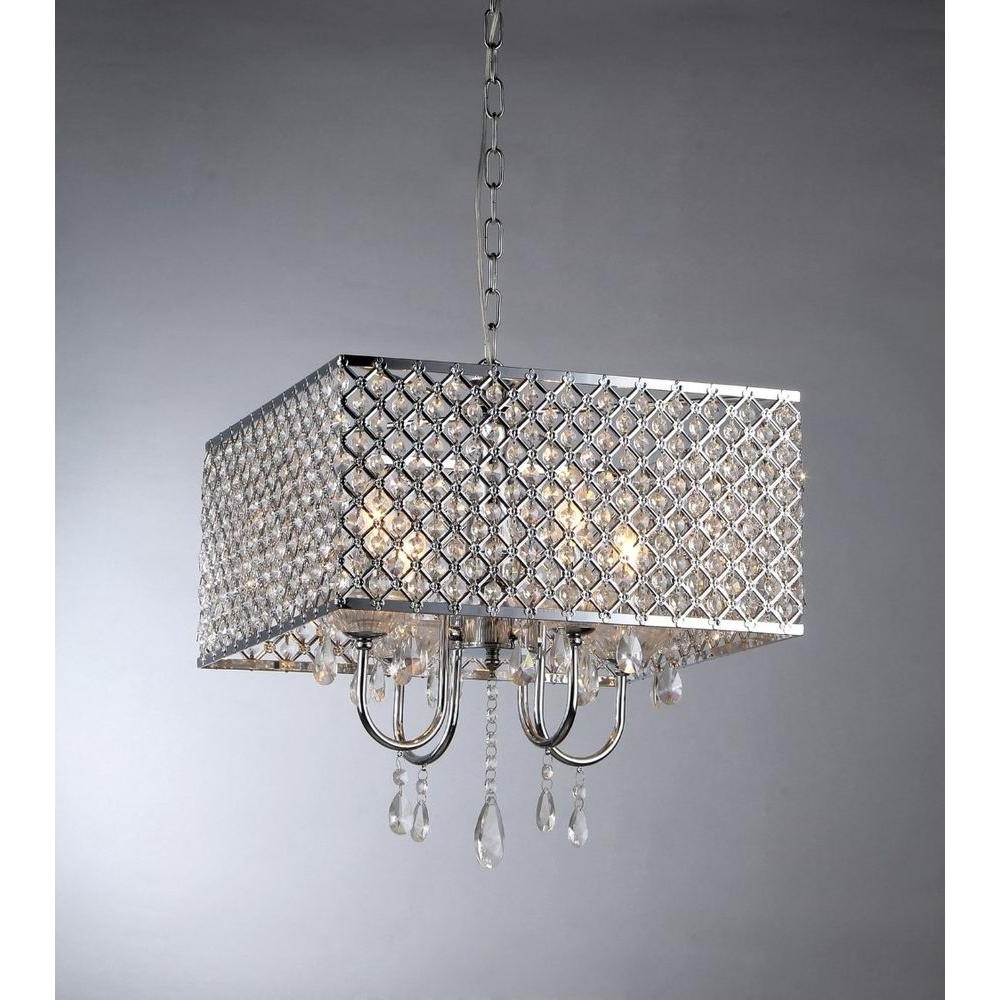 4-Light Chrome Crystal Chandeliers within Well-known Warehouse Of Tiffany Zarah 4-Light Chrome Crystal Chandelier With