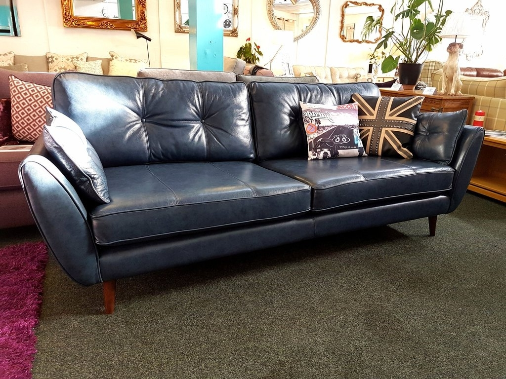 4 Seat Leather Sofas for Most Current Ex Display French Connection Zinc Blue Leather 4 Seater Sofa £959