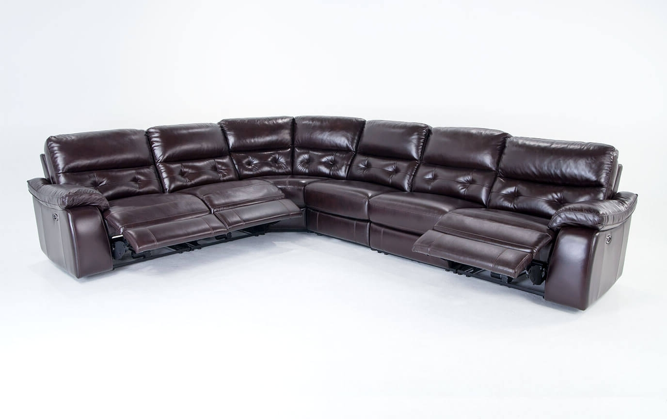 6 Piece Leather Sectional Sofas In Most Recent Excalibur Leather Power Reclining 6 Piece Sectional (View 4 of 15)