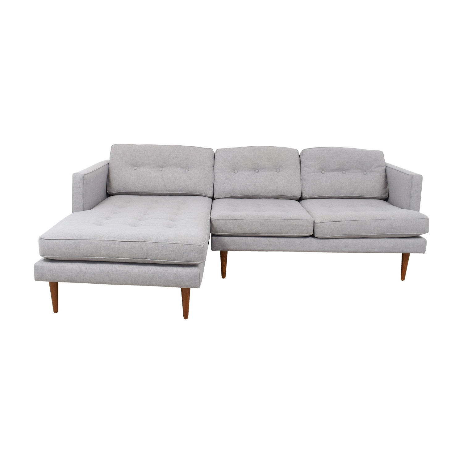 [%64% Off – West Elm West Elm Grey Tufted Chaise Sectional / Sofas With Newest Tufted Sectionals Sofa With Chaise|Tufted Sectionals Sofa With Chaise Inside Well Liked 64% Off – West Elm West Elm Grey Tufted Chaise Sectional / Sofas|Preferred Tufted Sectionals Sofa With Chaise With 64% Off – West Elm West Elm Grey Tufted Chaise Sectional / Sofas|Well Liked 64% Off – West Elm West Elm Grey Tufted Chaise Sectional / Sofas With Tufted Sectionals Sofa With Chaise%] (View 3 of 15)
