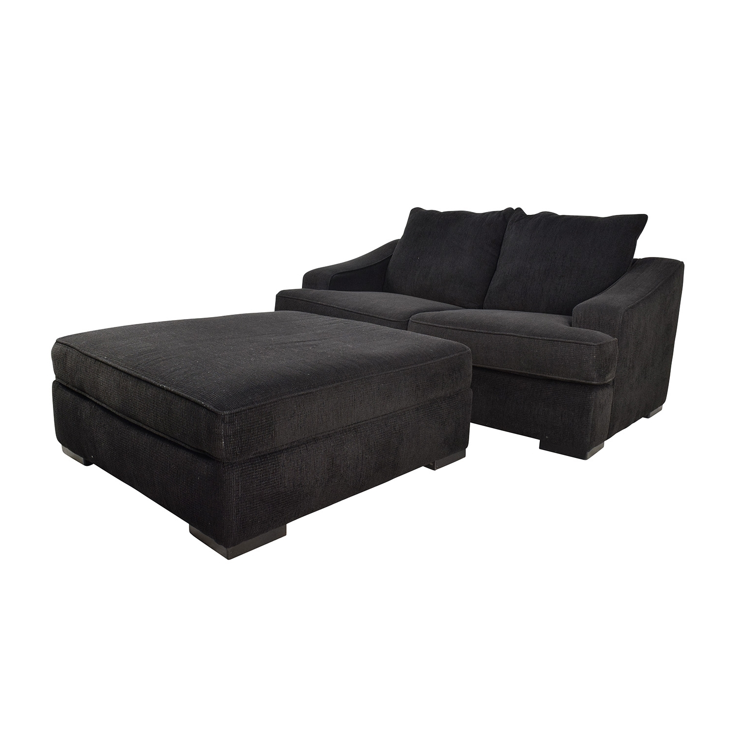 [%67% Off – Black Cloth Loveseat And Matching Oversized Ottoman / Sofas For Newest Loveseats With Ottoman|Loveseats With Ottoman With Latest 67% Off – Black Cloth Loveseat And Matching Oversized Ottoman / Sofas|Most Current Loveseats With Ottoman For 67% Off – Black Cloth Loveseat And Matching Oversized Ottoman / Sofas|Most Current 67% Off – Black Cloth Loveseat And Matching Oversized Ottoman / Sofas Throughout Loveseats With Ottoman%] (View 1 of 15)