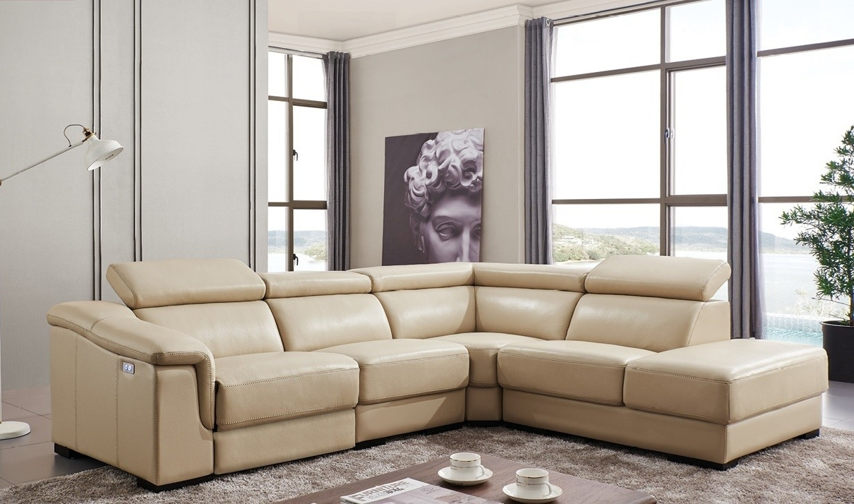760 Leather Sectional Sofa W/electric Recliner In Beige (Gallery 15 of 15)
